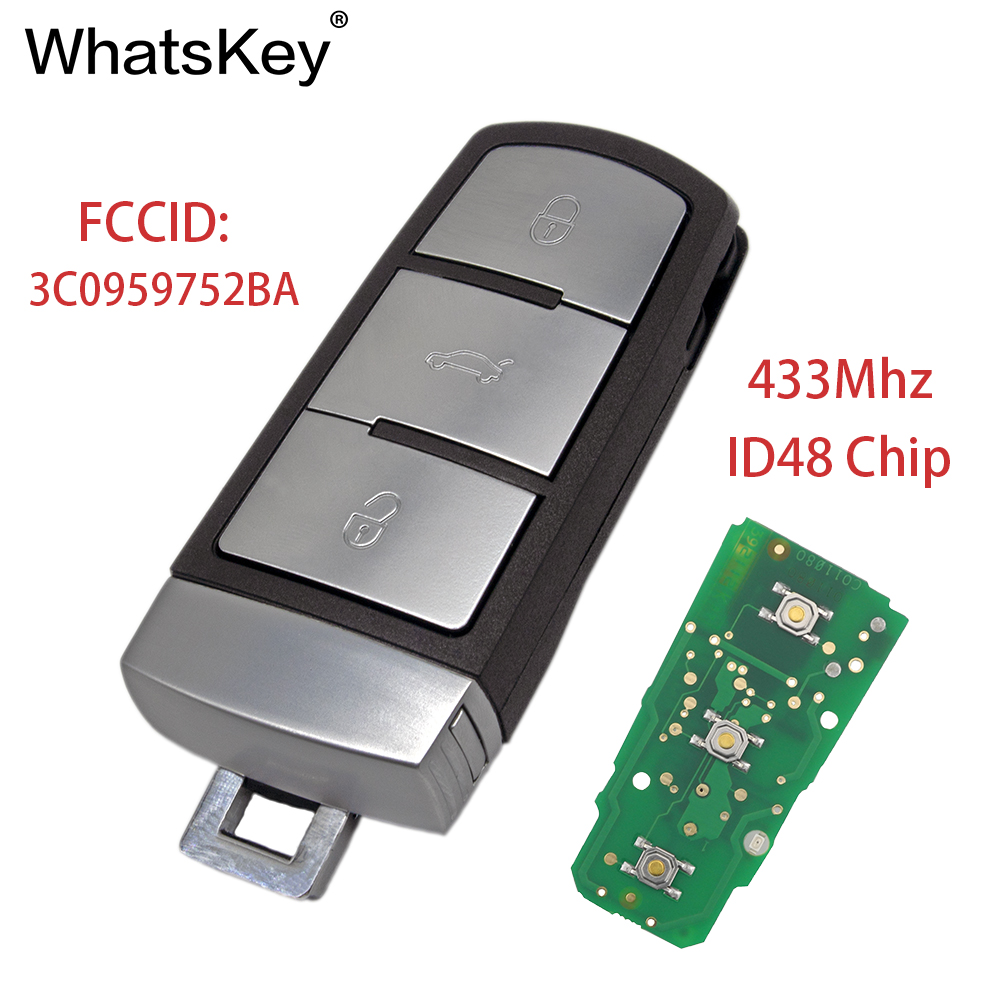 WhatsKey For VW Smart Car Remote Key Fob 433Mhz With ID48 Chip 3C0959752BA 3 Button For Volkswagen Magotan CC Passat B6 3C B7