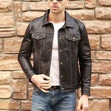 Men Casual Genuine Leather Coat Brand Luxury Real Leather Jacket Slim Lapel Blac