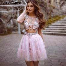 Graduation-Gowns Prom-Dress Short Homecoming Pink Simple Vestido-De-Gala Long-Sleeves