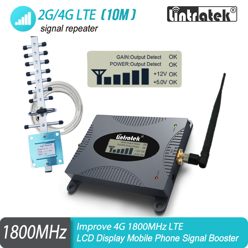 4G Network Booster Lintratek Moblie Phone LTE DCS 1800mhz GSM Signal Repeater Cellular 65dB 4G Amplifier With LCD Display
