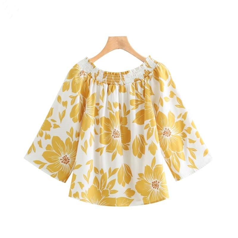 Women Off Shoulder Floral Print Blouse Yellow Slash Neck Three Quarter Sleeve Shirts Female Stylish Sexy Tops Womens Clothing