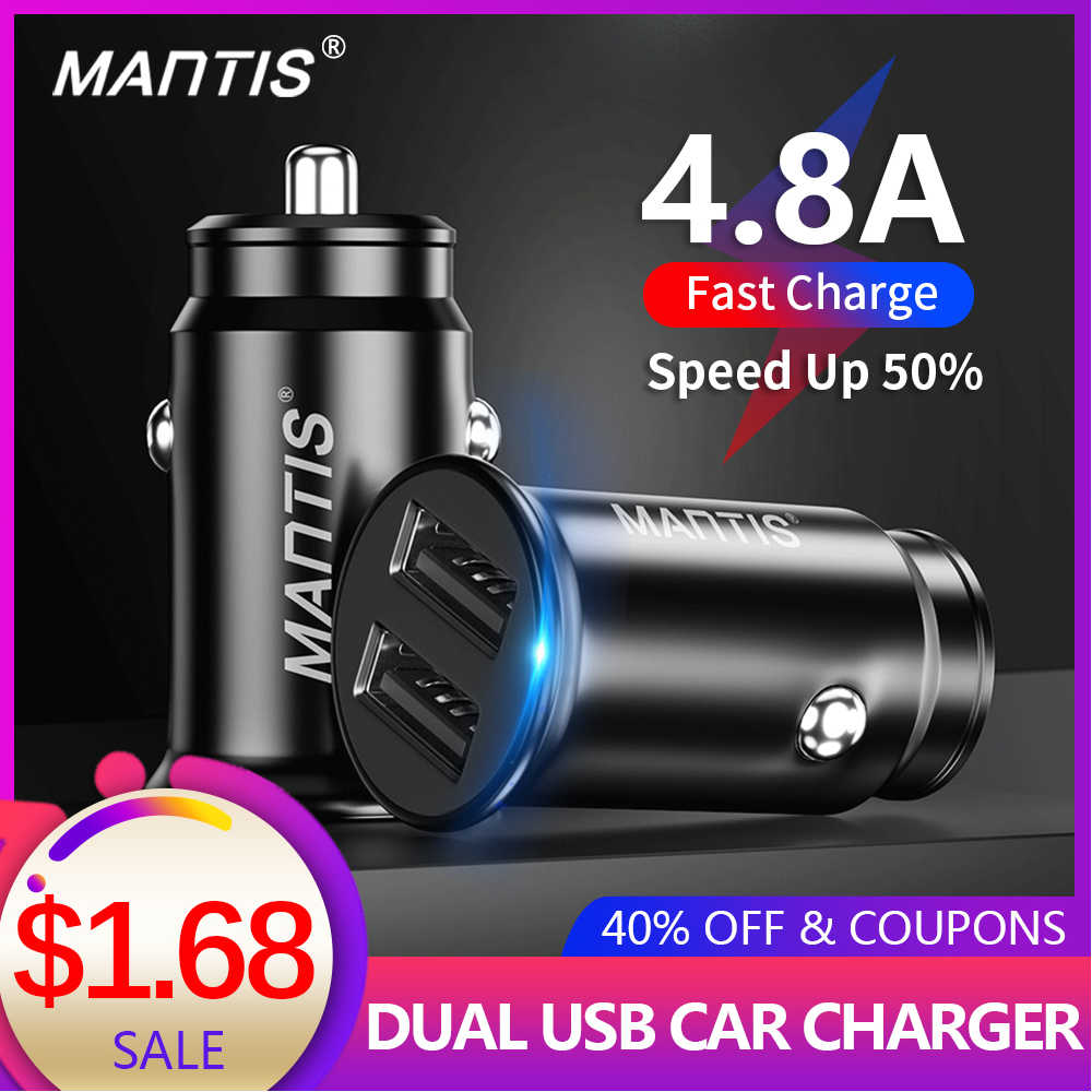 Mantis USB Charger Mobil 4.8A Mini Mobil Adaptor Charger Telepon Di Mobil untuk Samsung S10 Plus Xiaomi Redmi Note 7 iPhone 11 XR X 8