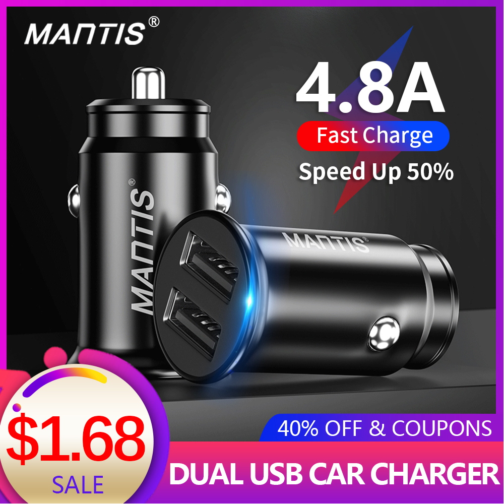 MANTIS USB Car Charger 4.8A Mini Car Phone Charger Adapter in Car For Samsung S10 Plus Xiaomi Redmi Note 7 iPhone 11 XR XS 8