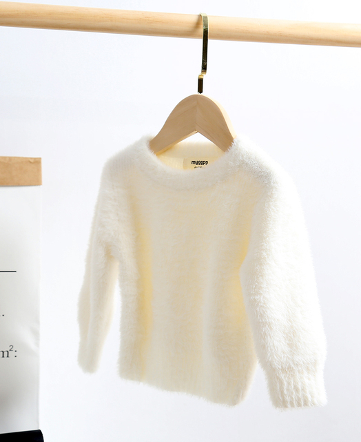 lioraitiin 0-5Years Toddler Kid´s Girl Solid Color Sweater Long Sleeve  Artificial Mink Hair Sweater for Autumn Early Winter 2