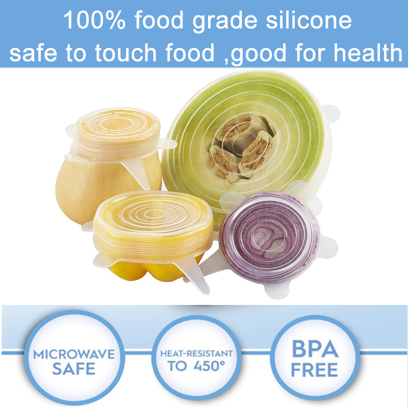 12pcs Reusable Silicone Food Cover Elastic Stretch Adjustable Bowl Lids Universal Kitchen Wrap Seal Fresh Keeping Silicone Caps