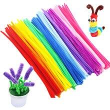 100 pçs 30cm crianças criativo colorido chenille hastes pipe cleaners crianças brinquedos educativos artesanal torção varas para diy artesanato