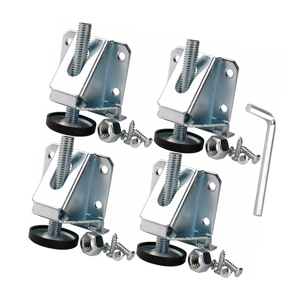 4PCS Cabinet Leg Levelers Heavy Duty Carbon Steel Leveling Foot Adjuster Leg Leveler With Wrench And Screws