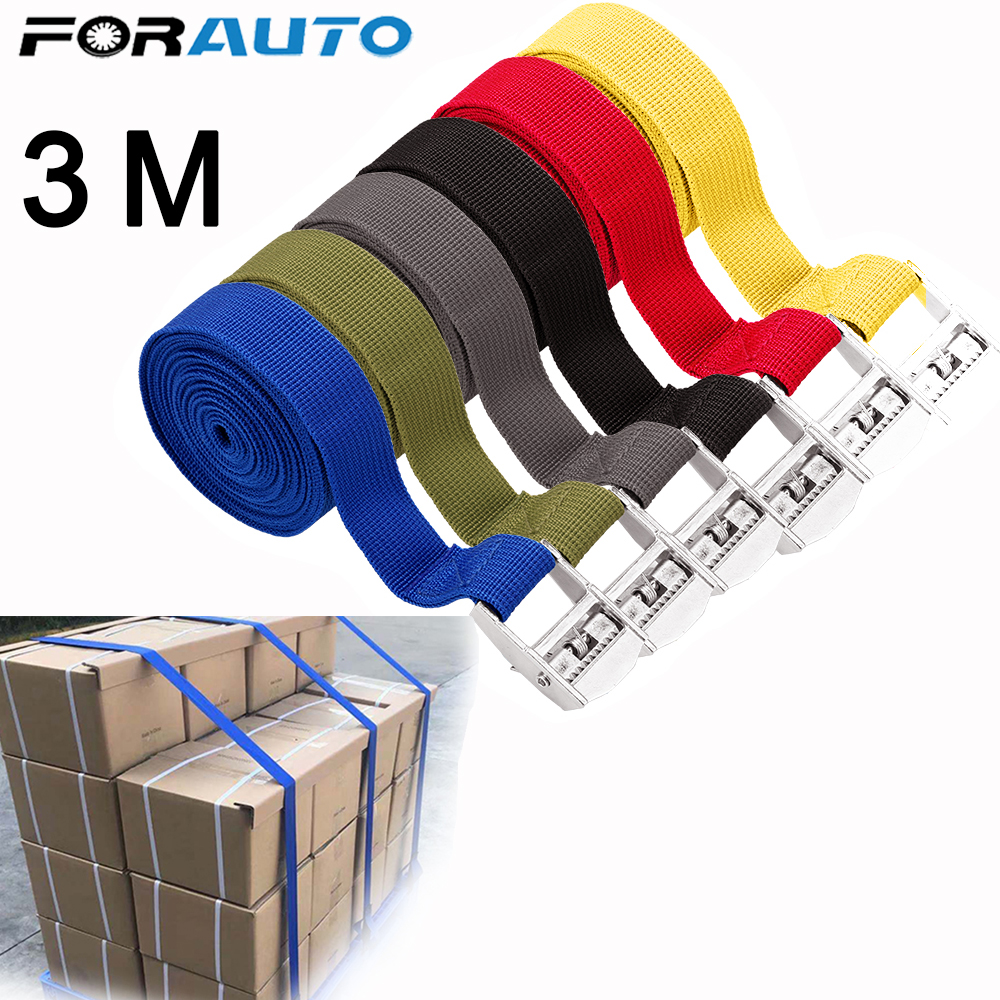 3 Meter Buckle Tie-Down Belt Cargo Straps For Car Motorcycle Bike With Metal Buckle Tow Rope Strong Ratchet Belt For Luggage Bag