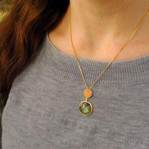 Image 3 - Lotus Fun, pendentif en argent Sterling 925, en pierre naturelle, fait à la main, bijoux fins, Design lac mystérieux, sans chaîne, pour femmes