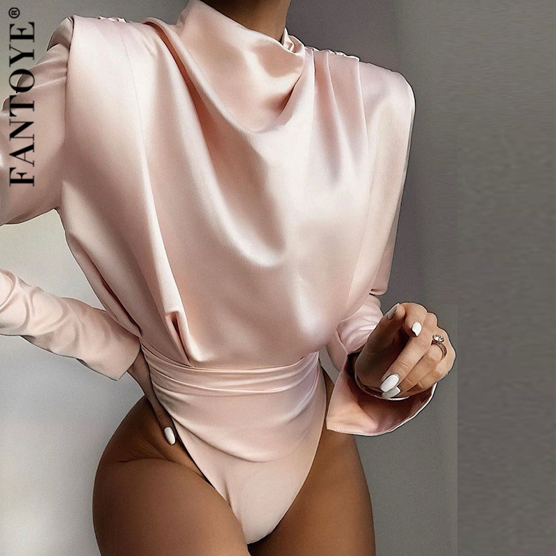 FANTOYE Sexy Satin Long Sleeve Bodysuit Women Turtleneck Bodycon Backless Bodysuit 2020 Overalls For Women Party Romper Jumpsuit