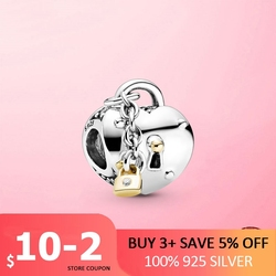 2021 New Valentine Gift 925 Sterling Silver Two-Tone Heart and Lock Charm Beads fit Original Chain Bracelet 925 Silver Jewelry