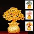 Cristal dinero árbol Natural citrino dinero árbol trae riqueza suerte creativo porche manualidades para la Oficina cumpleaños hogar Decoración esculturas