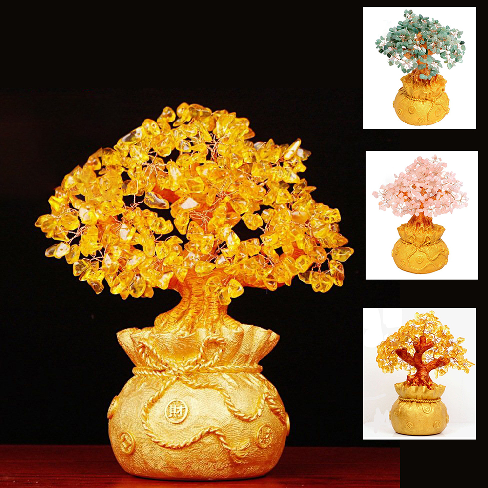 Crystal Money Tree Natural Citrine Money Tree Bring Wealth Luck Creative Porch Office Crafts Birthday Home Decoration Sculptures