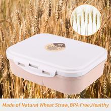 3 отсека PP материал и пшеничная соломенная Ланч-бокс shunstar On-the-Go упаковка для закуски Ланчбокс+ ложка+ вилка Набор контейнер