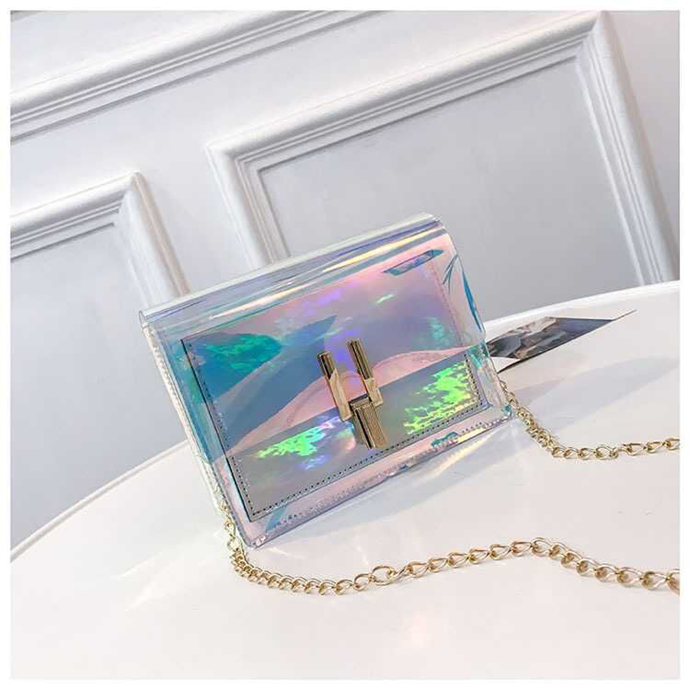 Crossbody Bag PVC Waterproof Single Shoulder Bag Laser Transparent Fashion Women Korea Style Chain Bag
