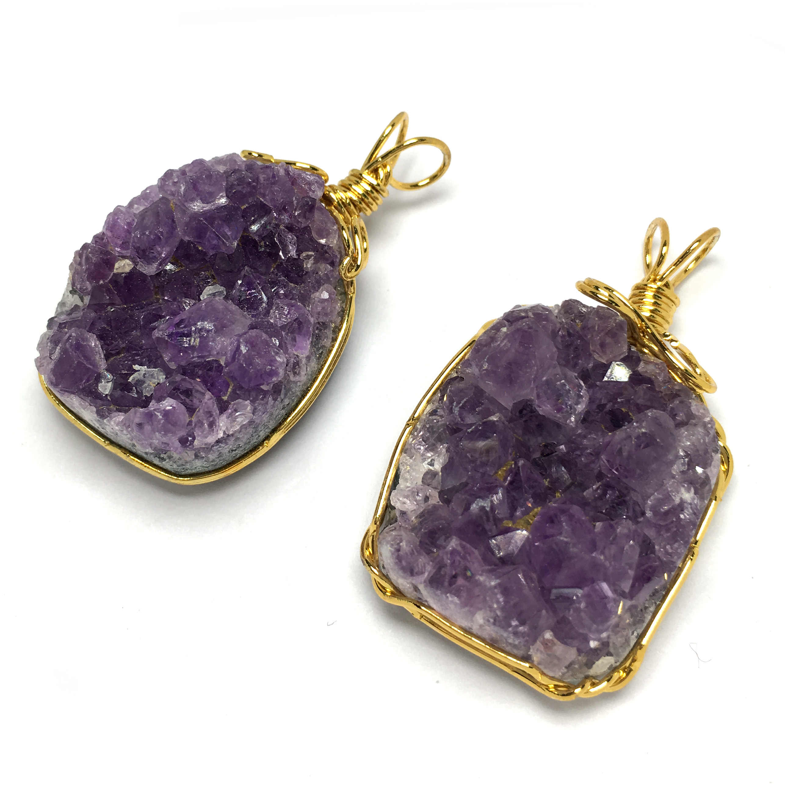 Naturalny kamień ametysty wisiorek złoty kolor instrukcja linia nieregularny kształt zawieszki do tworzenia biżuterii DIY akcesoria naszyjnikowe