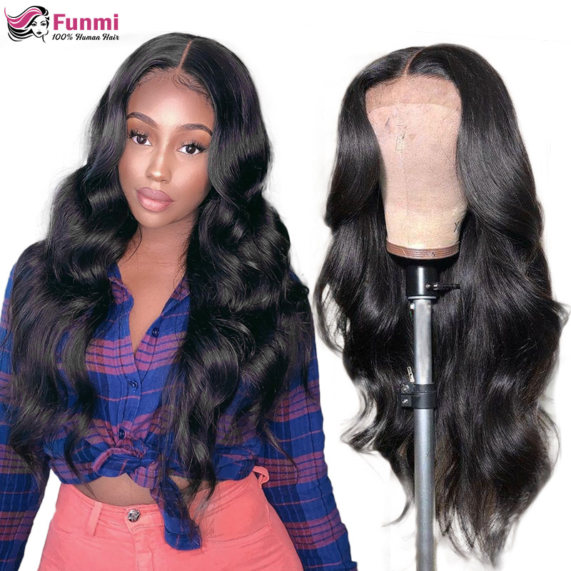 Transparent Lace Front Human Hair Wigs Pre Plucked Brazilian Body Wave Lace Frontal Wig With Baby Hair Remy Funmi Hair