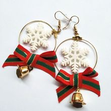 2019 Direct Selling New Earing European And American Christmas Ornaments Lovely Snowflake Bow Metal Bell Long Earrings