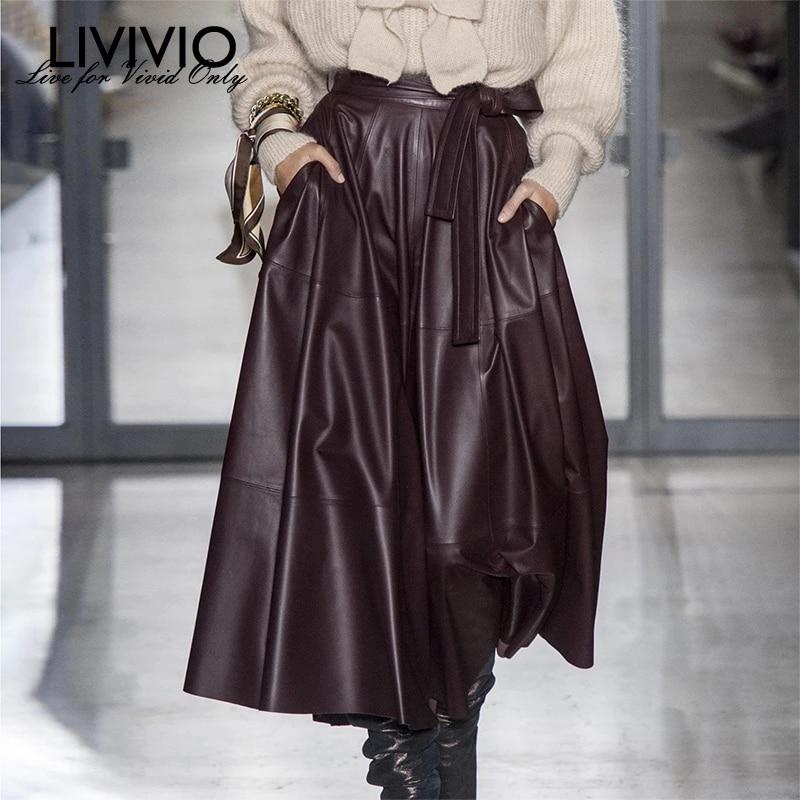 [LIVIVIO] High Waist With Sash Lace Up Faux PU Leather Office Lady Midi Skirt Women 2019 Korean Fashion Clothing