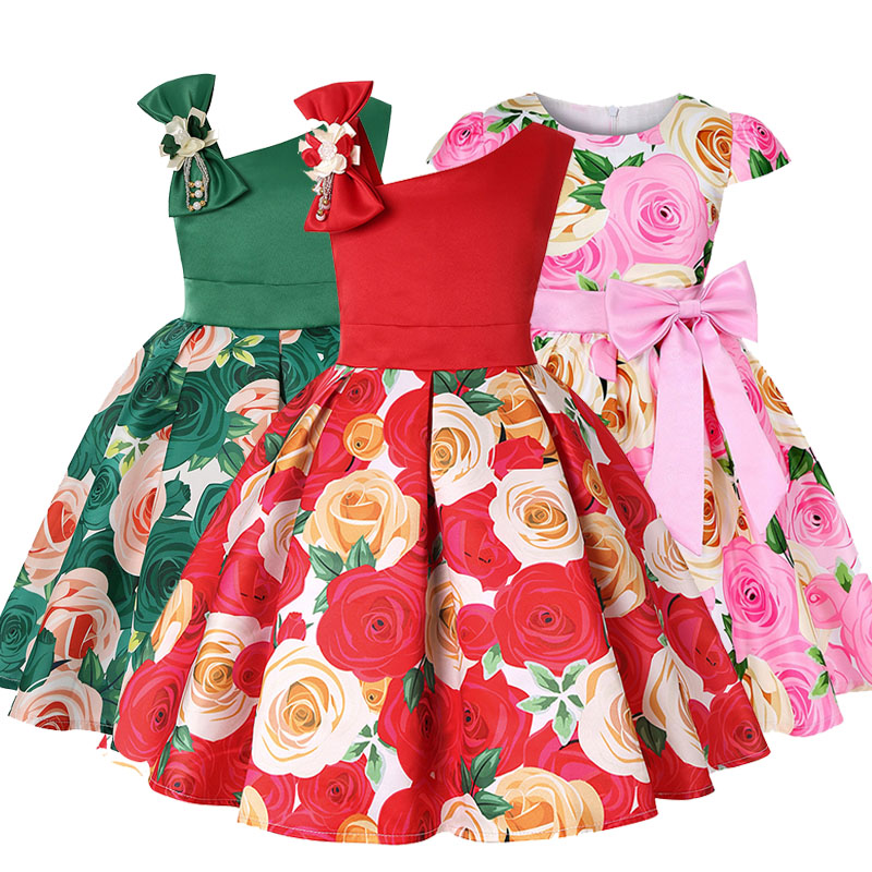 Flower Kids Tutu Birthday Princess Party Dress For Girls Baby Kids One-Shoulder Bow Lace Elegant Girl Dresses Baby Girls Clothes