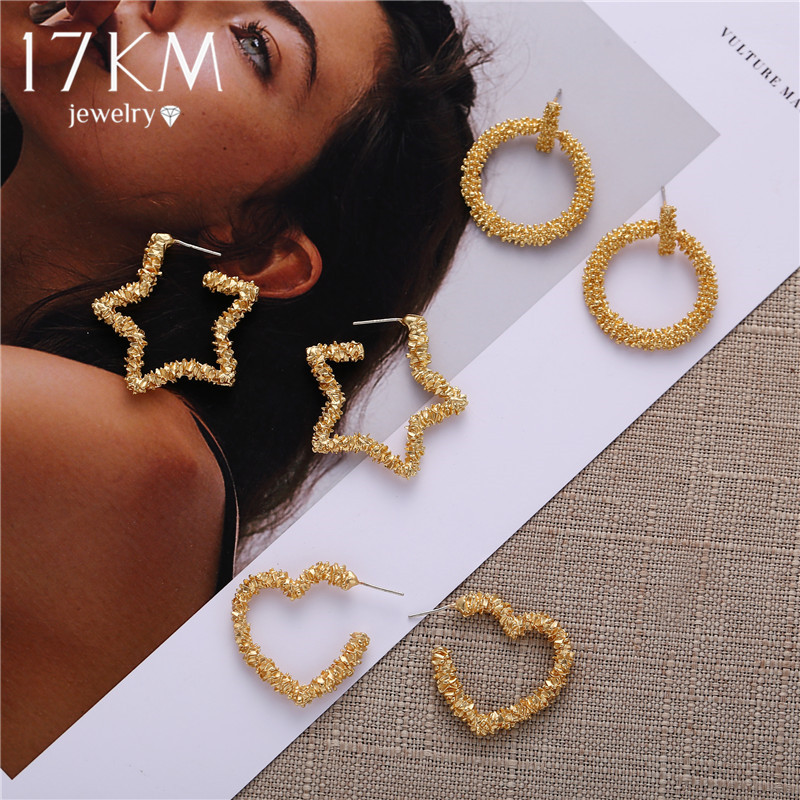 17KM Fashion Star Sequins Gold Drop Earrings For Women Geometric Star Heart Circle Earring Vintage Female Jewelry 2020 Brincos