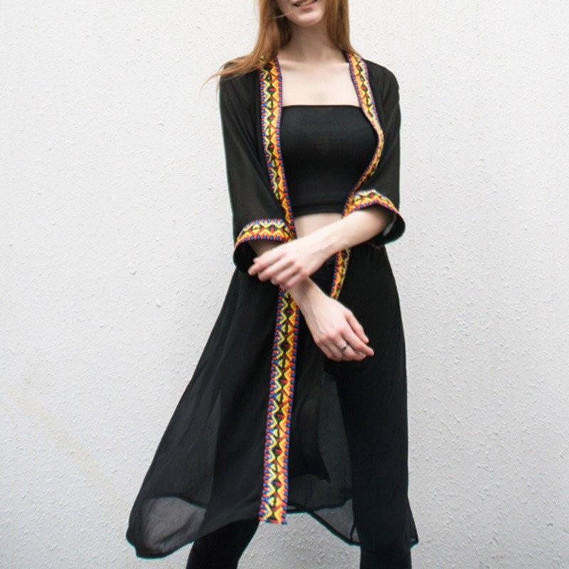 Женский шифоновый солнцезащитный купальник, накидка, Прозрачное кимоно с открытым передом, кардиган в этническом стиле, с вышивкой в виде