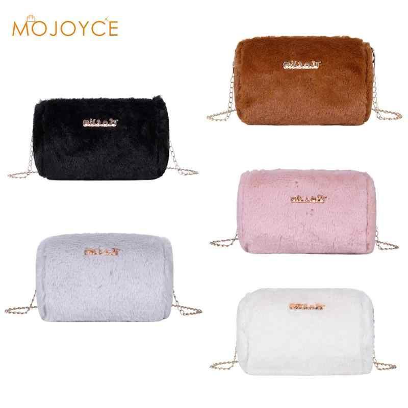 Moderno bolso de mensajero de felpa para mujer, bolso de hombro de cadena de embrague de cilindro mullido, bolso bandolera de piel sintética para mujer