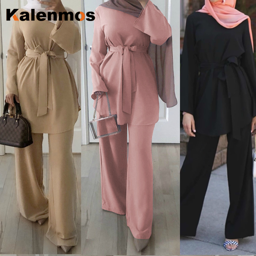 2pecs Set Blouse Wide Leg Pants Women Dubai Muslim Abaya Lace-up Solid Ropa De Mujer Kaftan UAE Islamic Clothing Turkey African