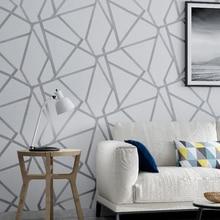 สีเทาเรขาคณิตวอลล์เปเปอร์สำหรับห้องนั่งเล่นห้องนอนสีเทาสีขาวลายออกแบบผนังกระดาษRoll Home Decor