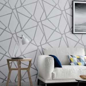 Image 1 - Серая Геометрическая настенная бумага для гостиной, спальни, серо белая узорная Современная дизайнерская настенная бумага в рулоне, домашний декор