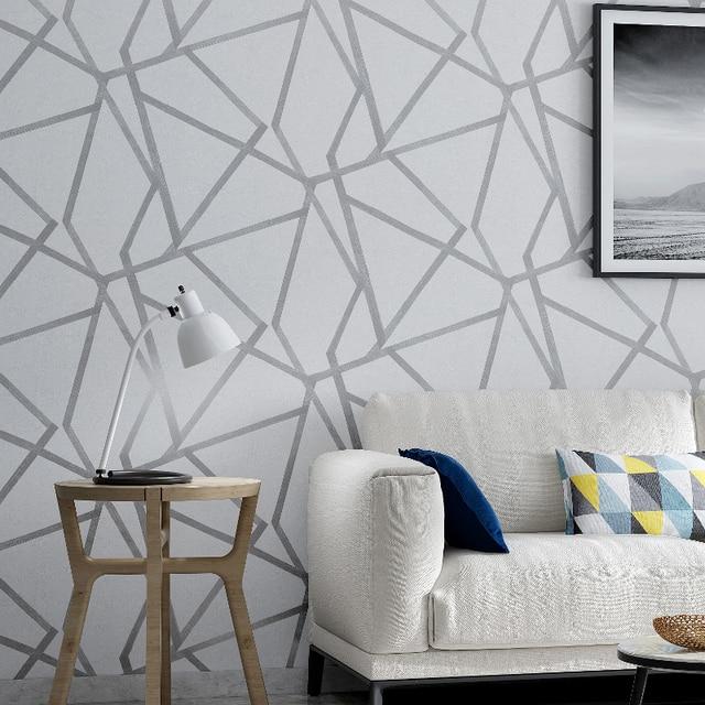 Серая Геометрическая настенная бумага для гостиной, спальни, серо белая узорная Современная дизайнерская настенная бумага в рулоне, домашний декор