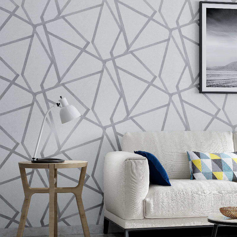 Grey Geometric Wallpaper For Living Room Bedroom Gray White Patterned Modern Design Wall Paper Roll Home Decor