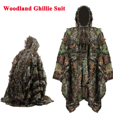 Tactical 3D Woodland Leaf Cloak Outdoor Paintball Airsoft Sniper Ghillie Suits Mens Hunting Camo Clothes
