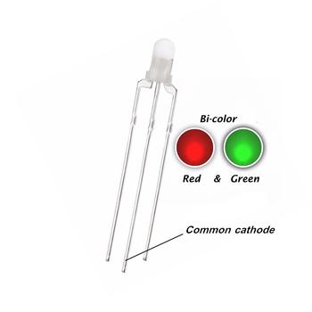 100 szt 3MM rozproszone światło led czerwony i zielony podwójny kolor DIP wspólna katoda led wskazuje światło tanie i dobre opinie Piłka 3MM-LED-Diffused