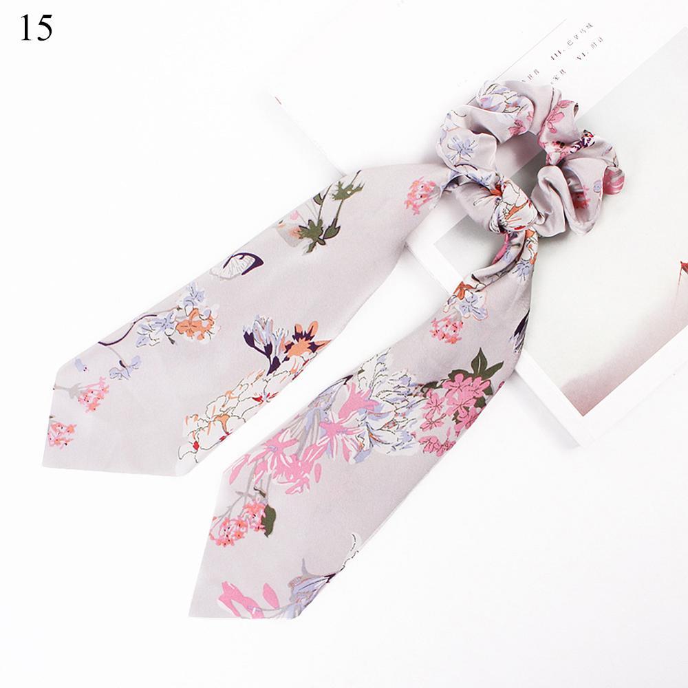 Bohème grande fleur chouchous longs banderoles arc cheveux écharpe femmes filles doux cheveux corde cravates mode cheveux accessoires chapeaux 24