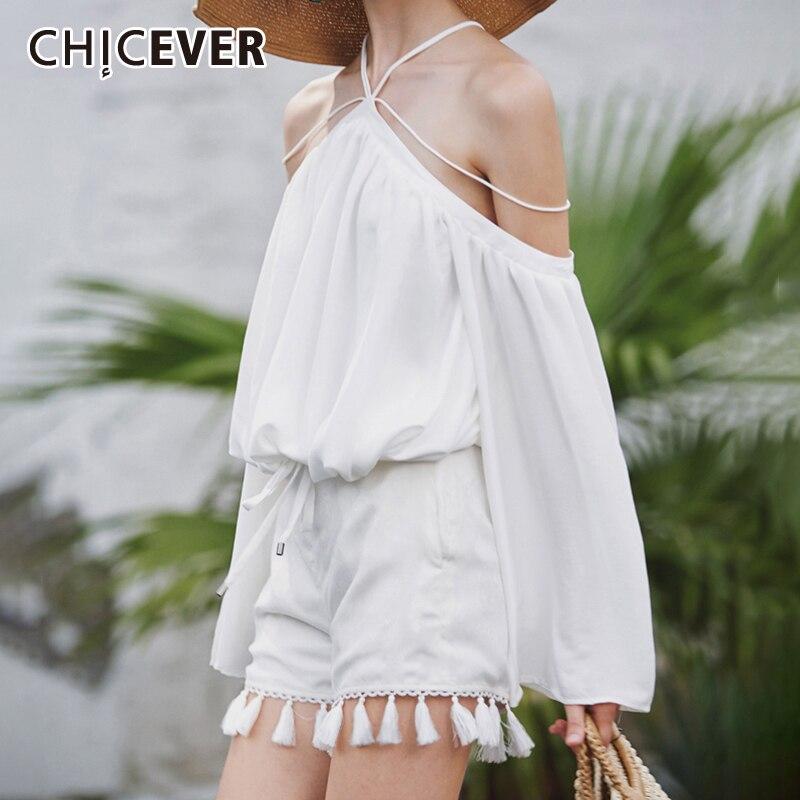 CHICEVER licou épaule dénudée femmes hauts et chemisiers lanterne manches ourlet Bandage arc longueur courte chemise femme mode nouvel été