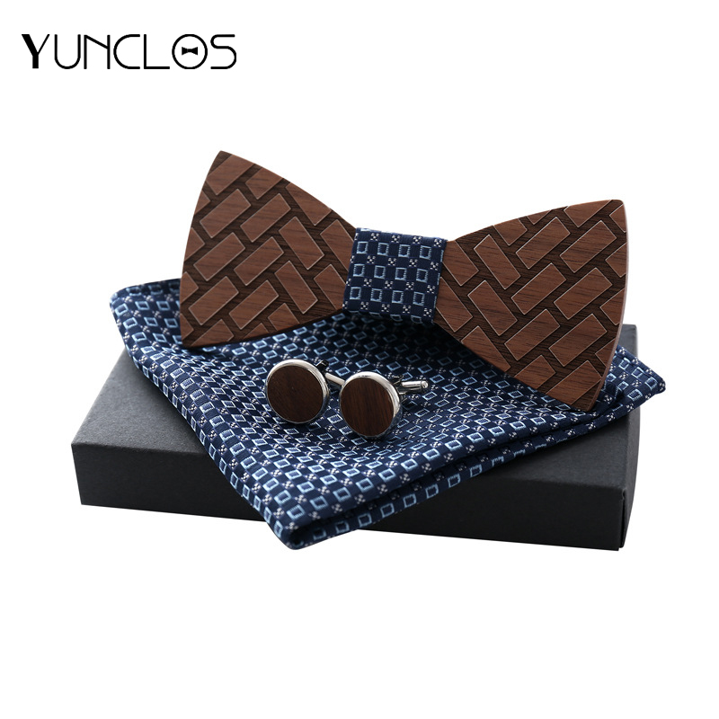 YUNCLOS Mens Wooden Bow Tie Three-piece Suit Trendy Wood Men Wedding Party (bow tie + square scarf cufflink)