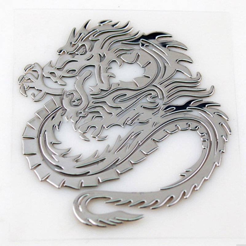 3D Car Trunk Nickel Alloy Badge Emblem Dragon Sticker Accessories Adhesive Car Styling Badge Stickers