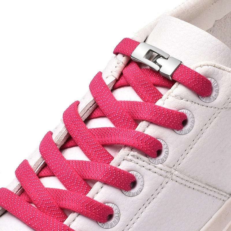 New 1 Second Quick Elastic Shoelaces Flat Shoe Laces No Tie Cross Buckle Lock Shoelace Kids Adult Leisure Sneakers Lazy Laces