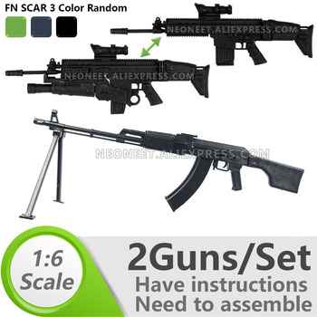 1:6 1/6 Scale 12 inch Action Figures Machine Gun RPK74 Rifle FNSCAR Grenade Launcher Model Gun Toy For 1/100 MG Gundam Model 1 6 4d germany mp7 submachine gun model diy assemble models for 12 inches action figures collections
