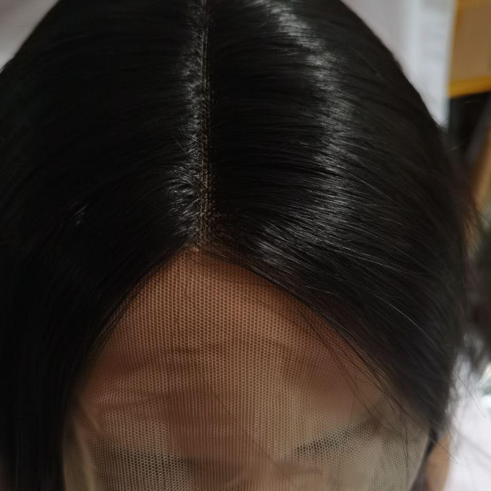 curto em linha reta perucas sintéticas da