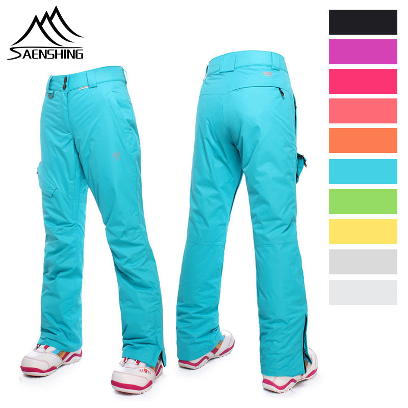 SAENSHING Winter Ski Pant Women Snow Pants Waterproof Ski Trousers Women High Waist Strapless Winter Female Snowboard Pants