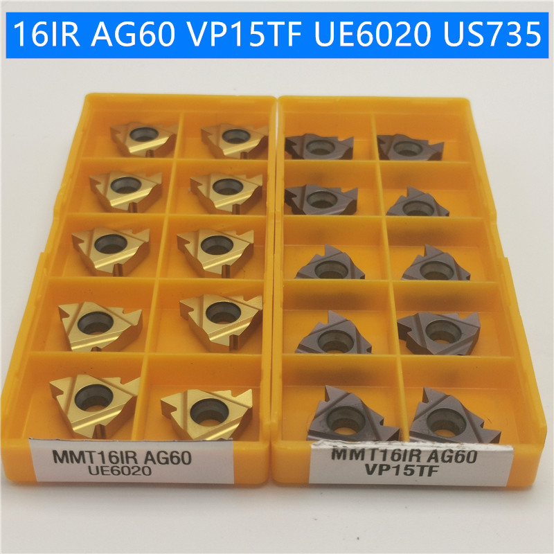 10PCS 16IR 16ER AG60 AG55 UE6020 US735 VP15TF thread turning tool carbide insert turning tool CNC cutting tool