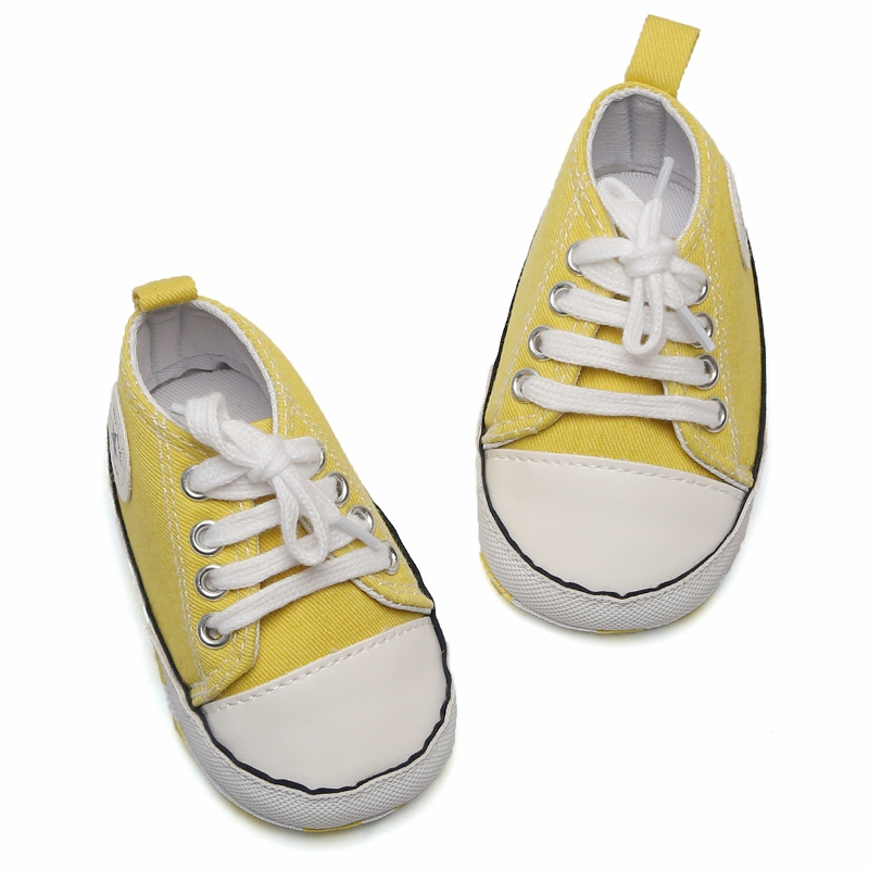 2019 Autumn 0-1Y Toddler Infant Baby Boy Shoes Casual Sneaker Yellow Lace-up Soft Sole Crib Shoes First Walkers Sapatos Menino