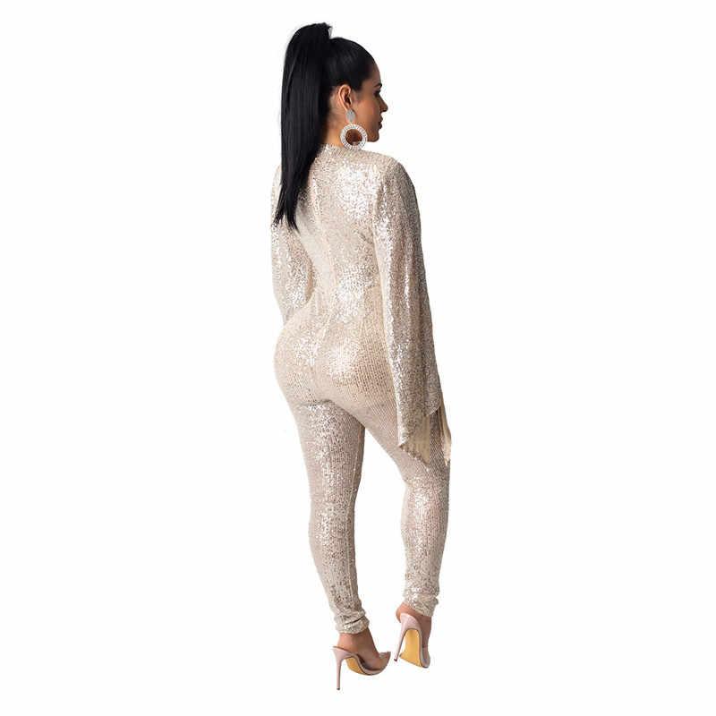 Adogirl, женский модный сексуальный комбинезон с расклешенными рукавами и блестками, глубокий v-образный вырез, вечерние комбинезоны для ночного клуба, одежда для выступлений