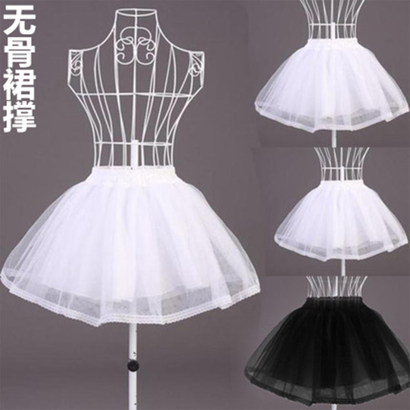 Women Bridal Single Layer Chiffon Lolita Short Petticoat Tutu Skirt  Floral Lace Trim Princess Wedding Dress