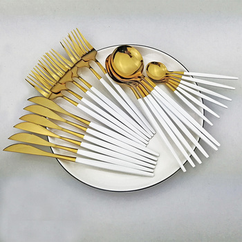 24pcs White Gold Dinnerware Set Stainless Steel Knife Fork Spoon Cutlery Set Kitchen Tableware Set Flatware Set Wholesale