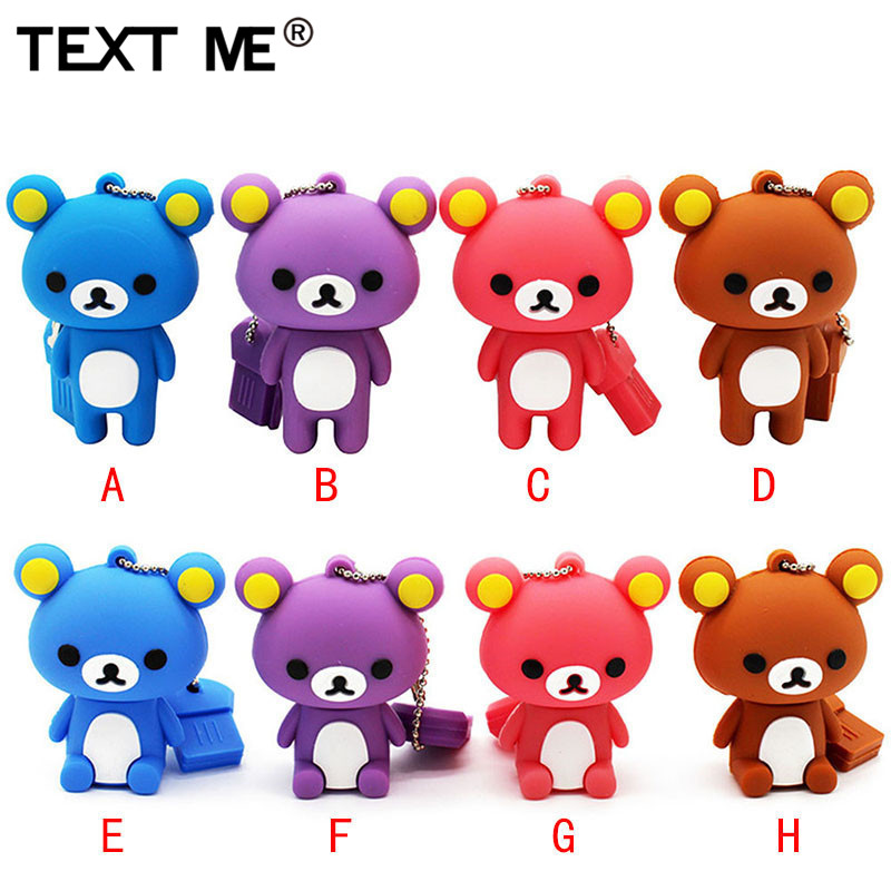 TEXT ME  Usb 2.0  USB Stick8 Colour Mini Bear USB Flash Drive Pen Drive 4GB 8GB 16GB 32GB Memory Stick