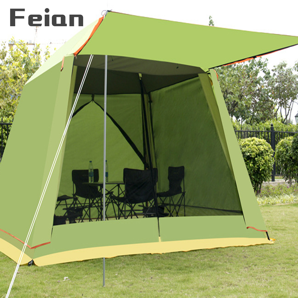 Outdoor large space 5-8 people tent folding sunshade awning rain sunscreen tents beach picnic travel camping party car tent