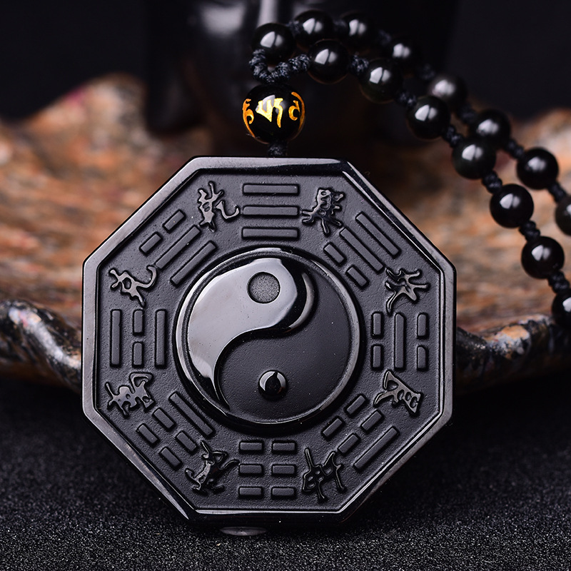 Black Natural Obsidian Chinese Style Yin Yang Necklace Pendant  For Men Women Pendant Fine Jewelry Party Gift